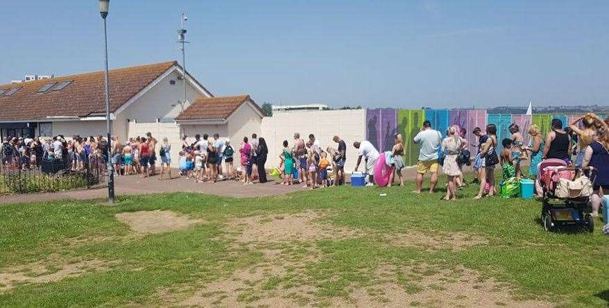 Swimmers heading to The Strand, in Gillingham, faced long queues