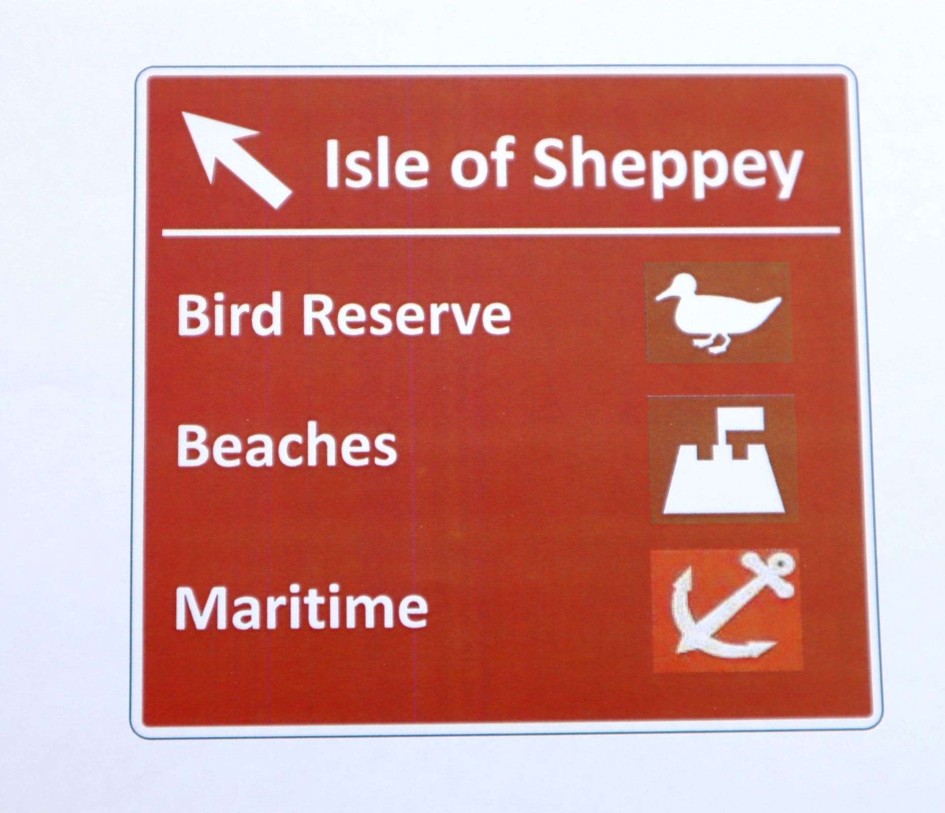 How the long-awaited brown tourist sign to the Isle of Sheppey will look on the M2
