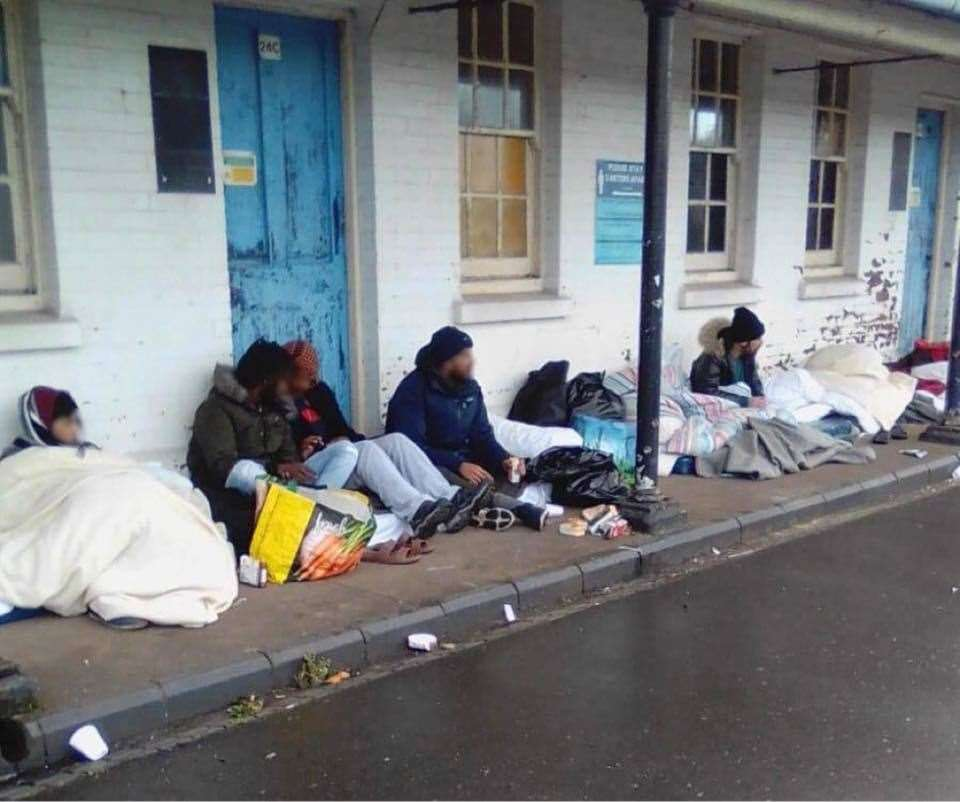 Asylum seekers protesting at Napier Barracks over the living conditions. Picture: Care4Calais