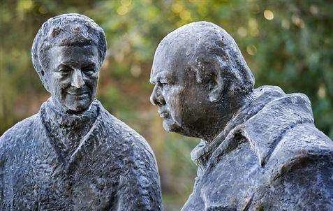 Winston and Clementine Churchill statues at Chartwell