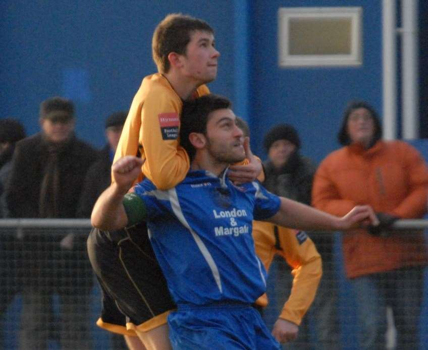 Lloyd Blackman in action for Margate in a Kent derby against Maidstone Picture: Steve Terrell
