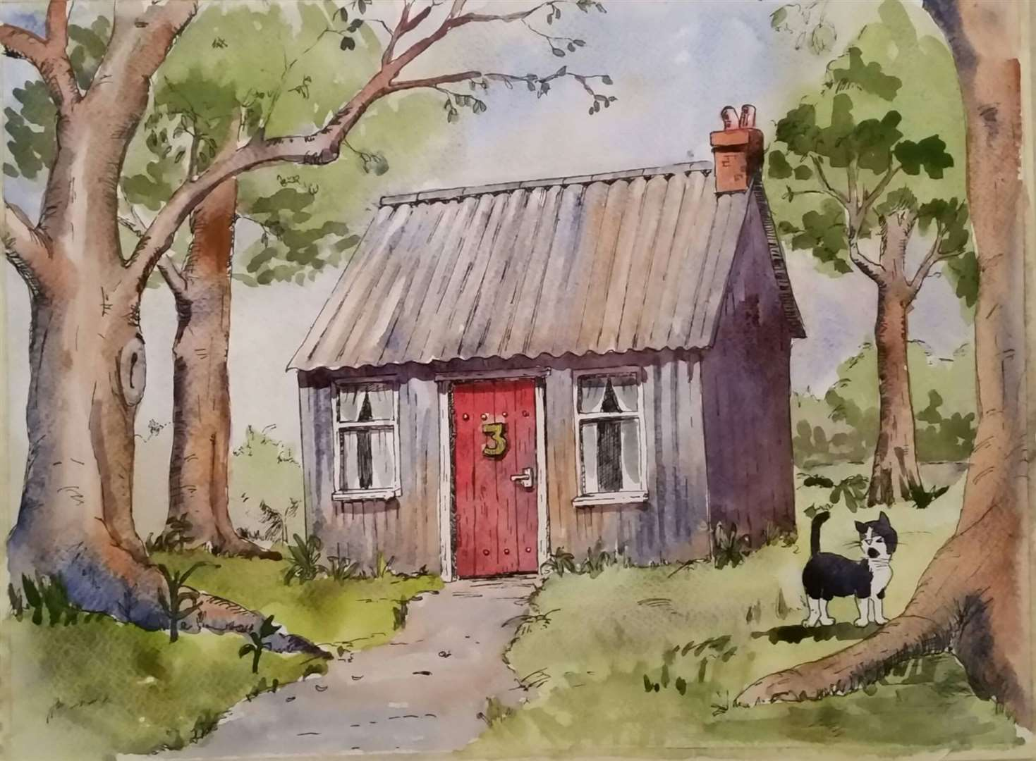 Number 3 Tin Cottage - created by Meryl Ledbrooke. Drawing by John Gevaux-Ross