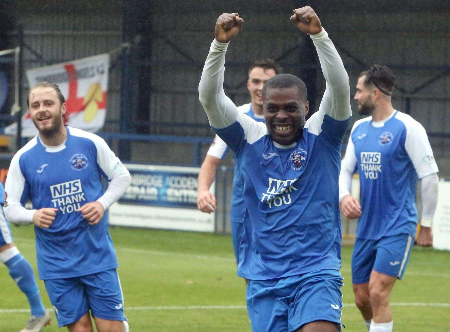 Alex Akrofi celebrates his goal for Tonbridge. Picture: Dave Couldridge (42844496)