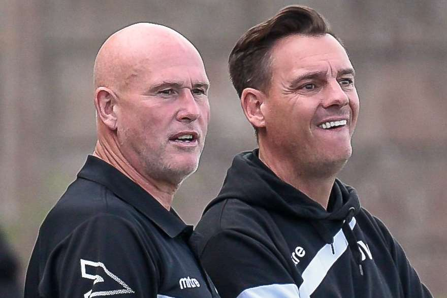 Ashford United manager Jason Whitmore (right) Picture: Alan Langley