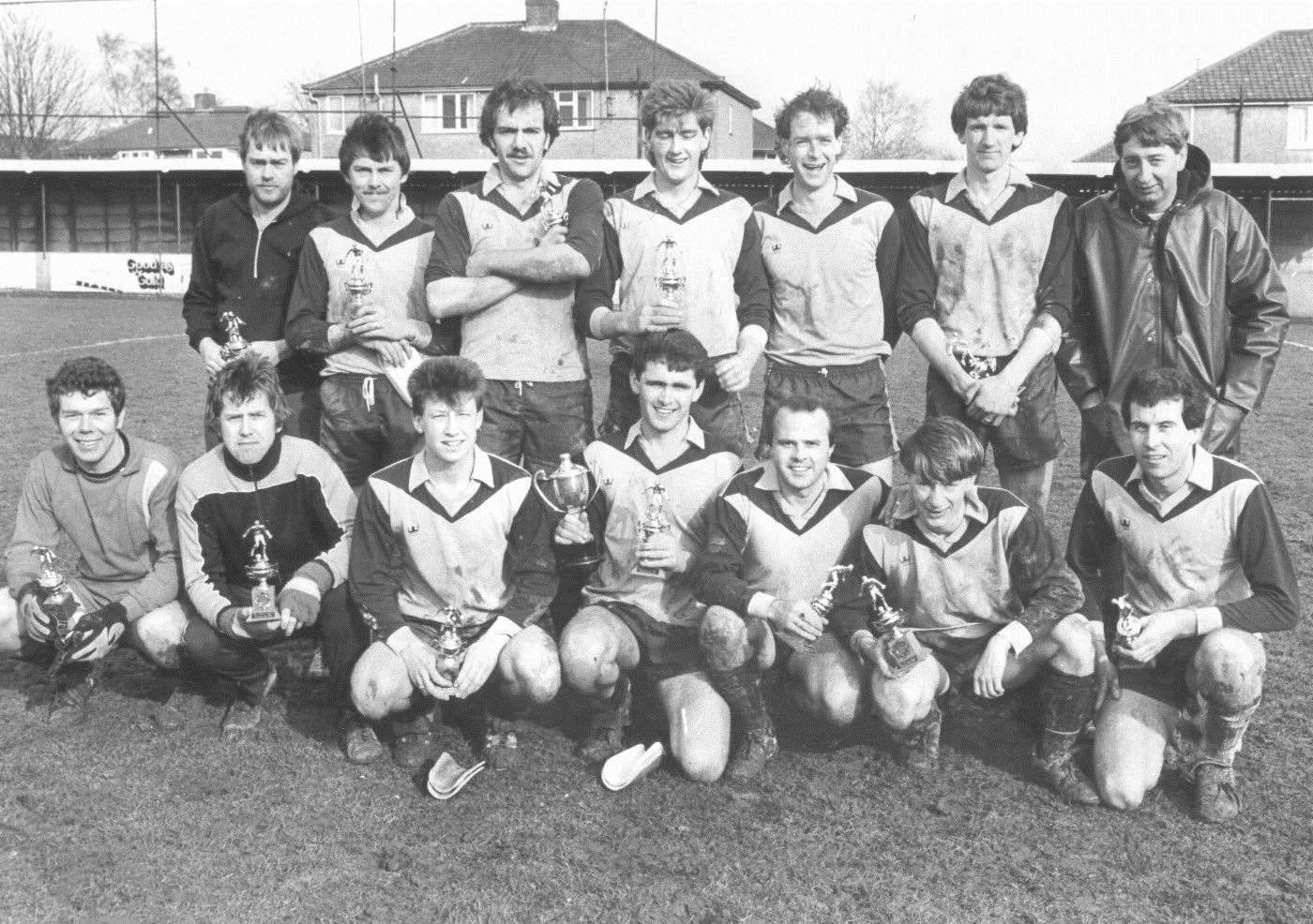 John Webster, front row, third left, with The Fox's Sunday league football team in 1984
