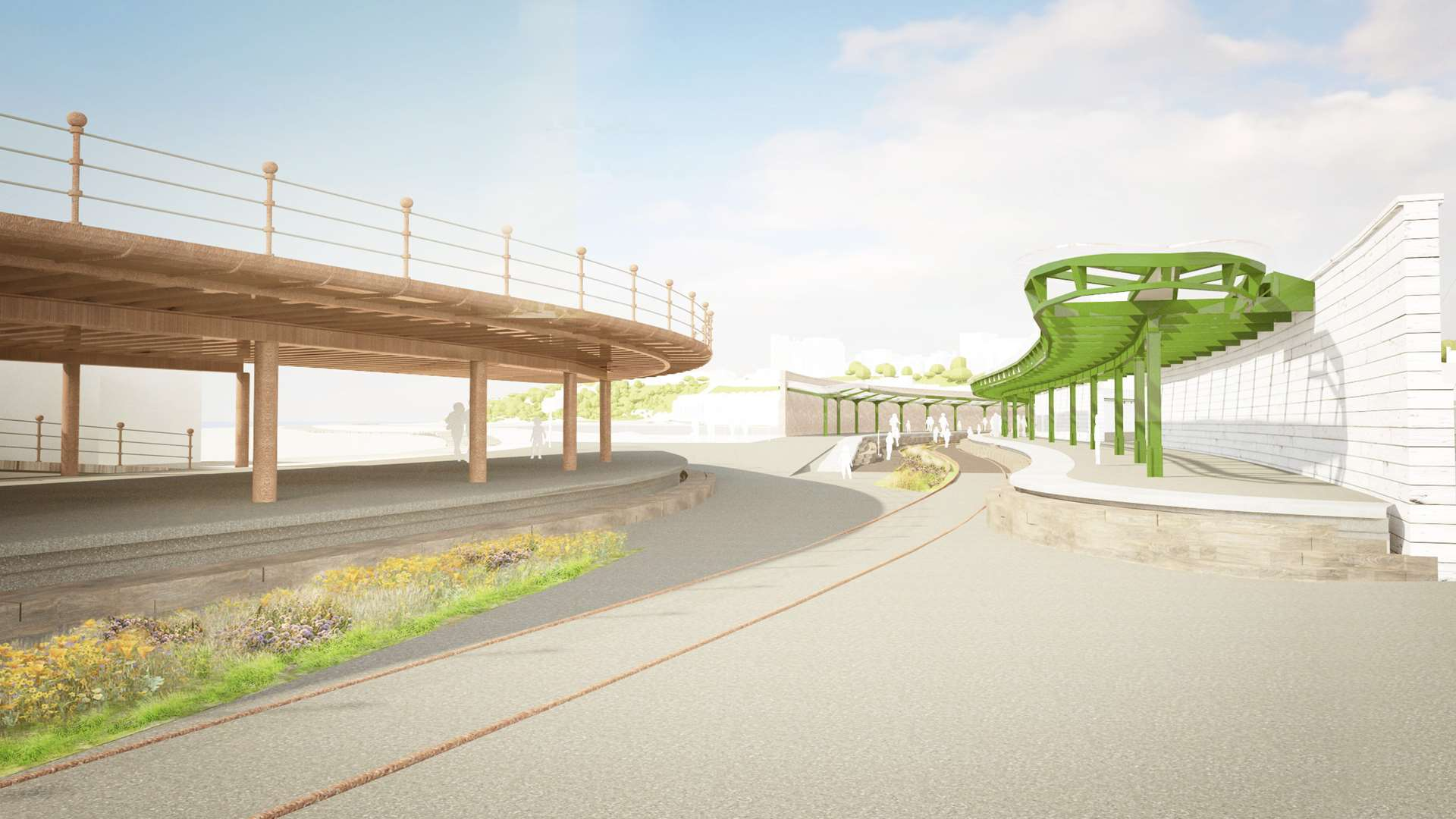 The work will start in the next few weeks and connect the harbour to the town centre with a walkway over the old railway line. Picture: Folkestone Harbour Company