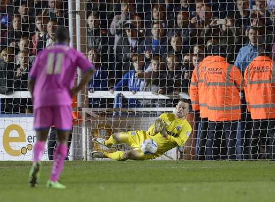 Stuart Nelson saves Britt Assombalonga's penalty Picture: Ady Kerry