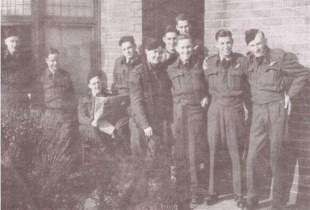 Chriss Bridger, far left, with his Lancaster bomber air         crew