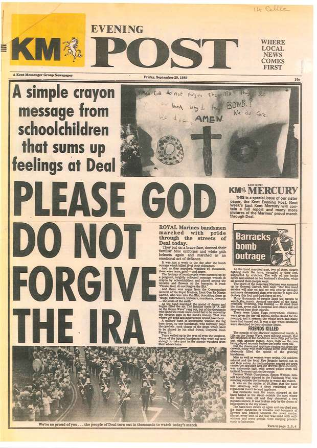The Evening Post, another KM paper, carries the bold message not to forgive the murderers, the IRA