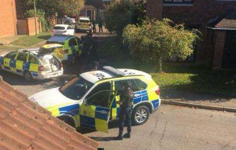 Armed police seen in Harvesters Way