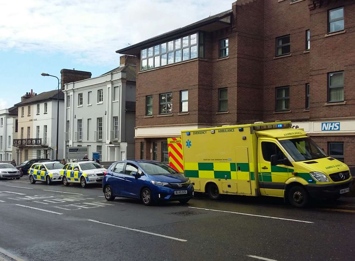 Three ambulances and a number of police cars rushed to Albion Place