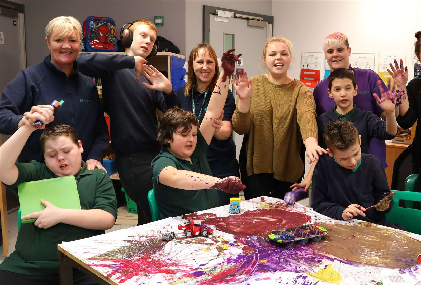 Pupils at Five Acre Wood School enjoy messy and creative fun as part of their curriculum Picture: Andy Jones