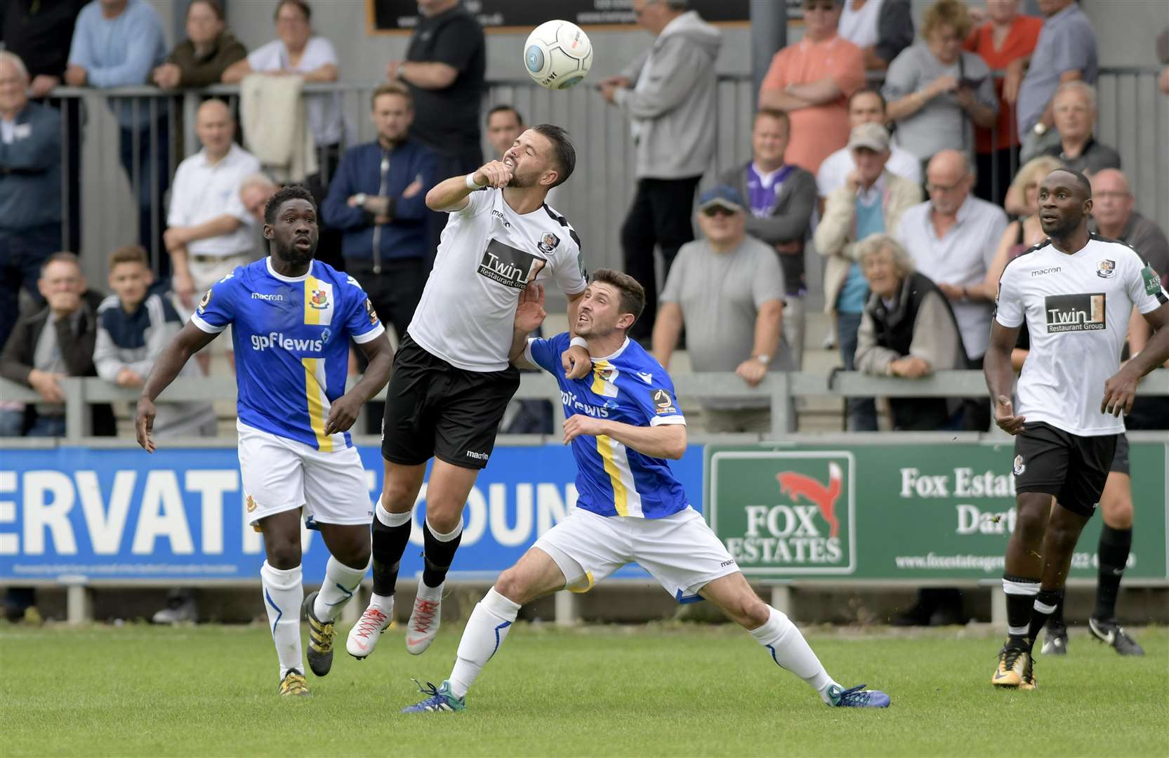 Dartford win the ball against Wealdstone. Picture: Andy Payton