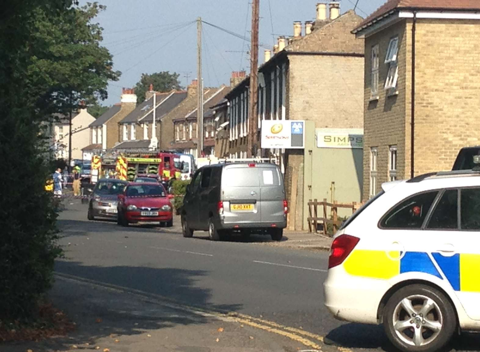 Fire crews and police in Albion Road