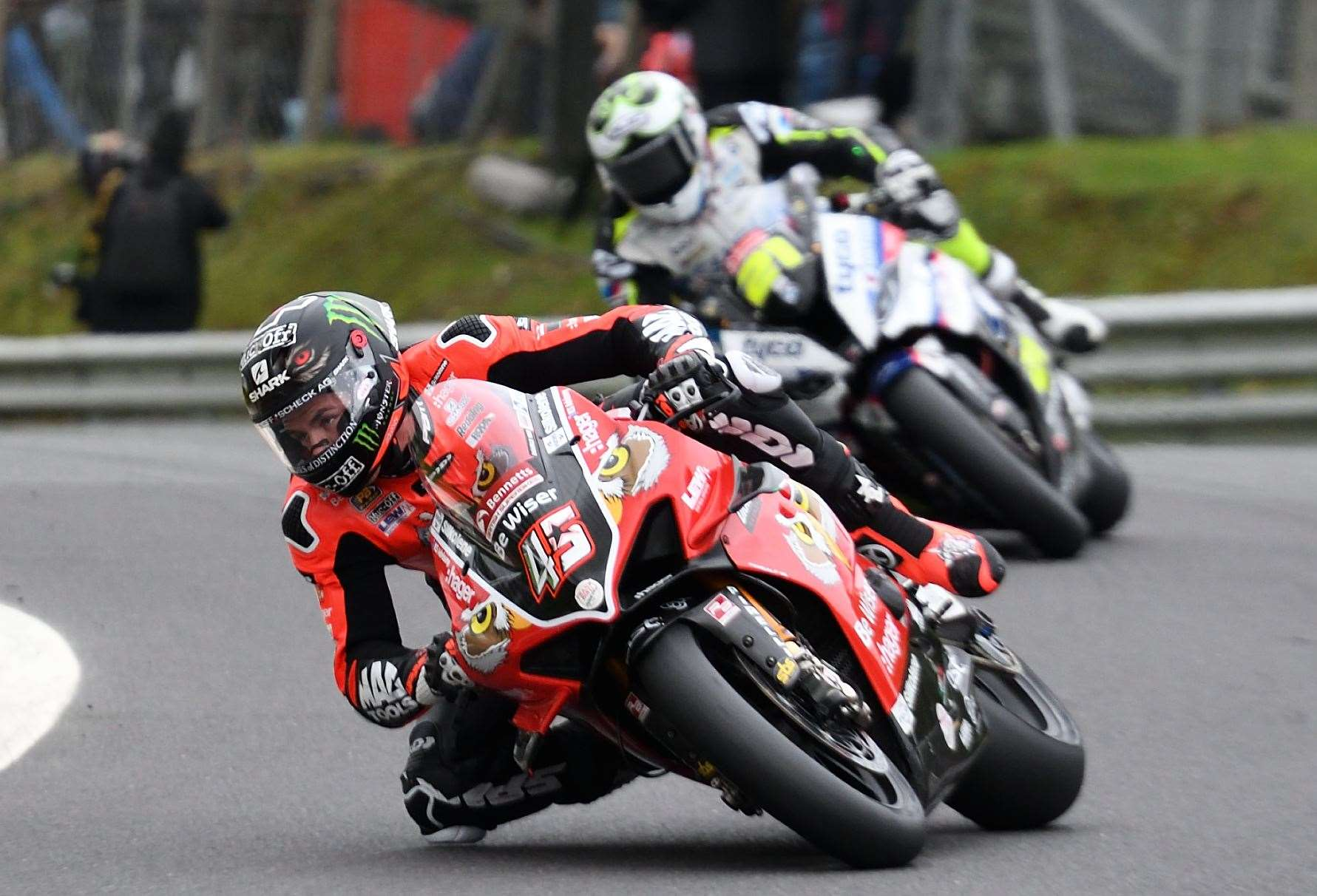 Scott Redding (45) on his way to championship success at Brands Hatch on Sunday. Picture: Simon Hildrew