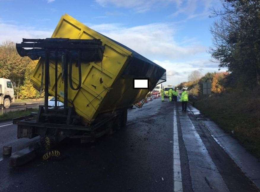Tipper truck being cleared from the A249 at Sittingbourne. Picture: Highways England (21635032)