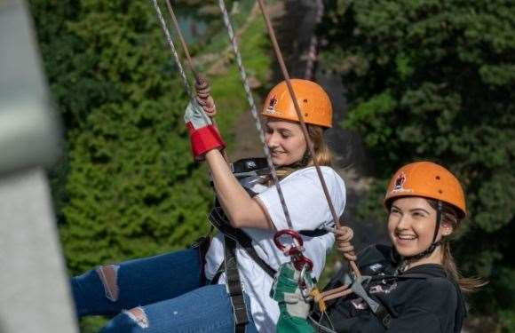 Abi Lewer and Georgia Hewish taking part in the KM Charity Team summer abseil (13270516)