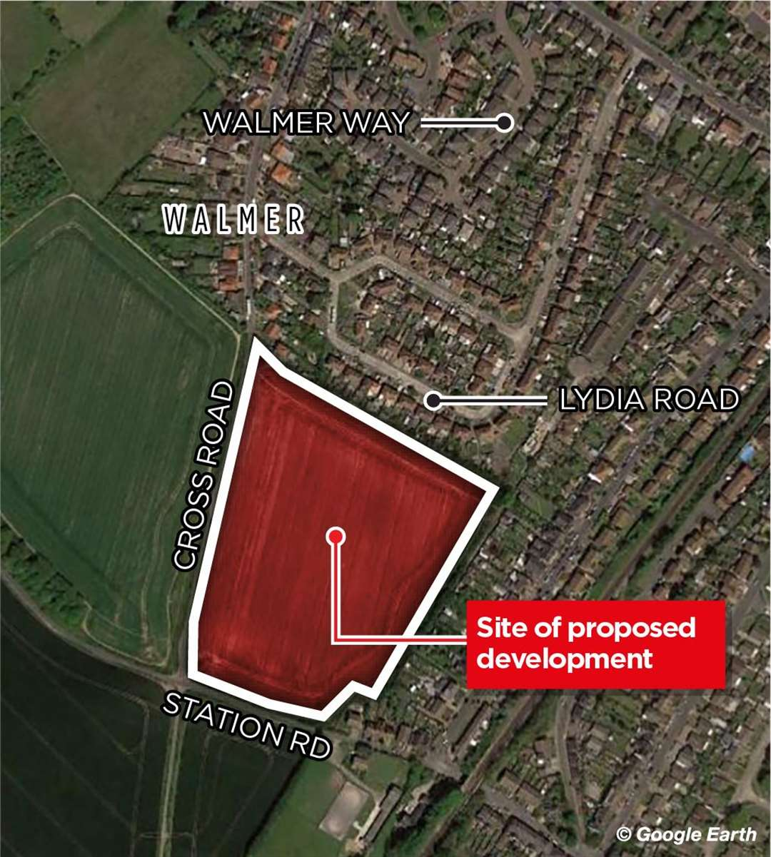 The proposed housing site in relation to Walmer Way