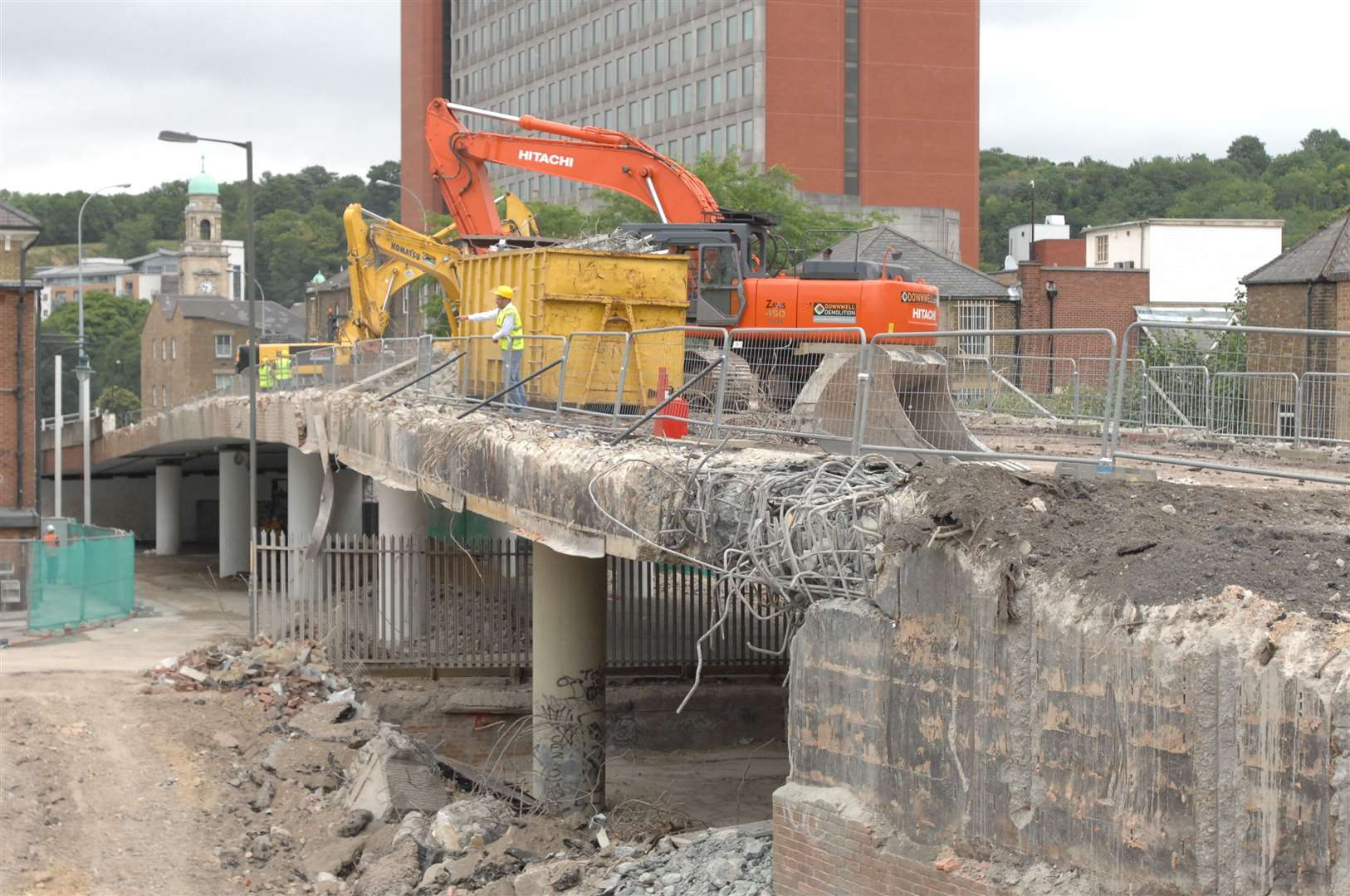Demolition work on the Sir John Hawkins Flyover in July 2009