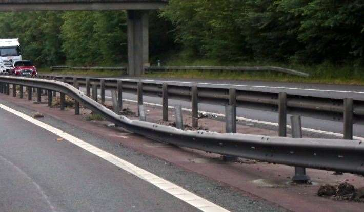 Damage to the central reservation of the M2 following a crash near Faversham. Picture: UKNiP