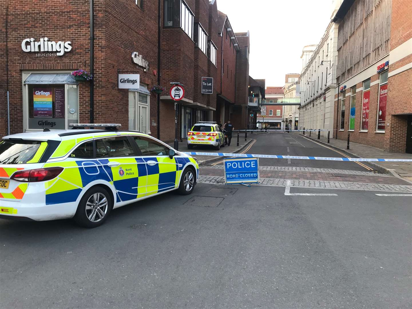 A police cordon was in place in Canterbury city centre