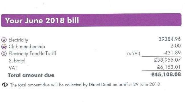 The enormous bill received by Ms Williams in June last year