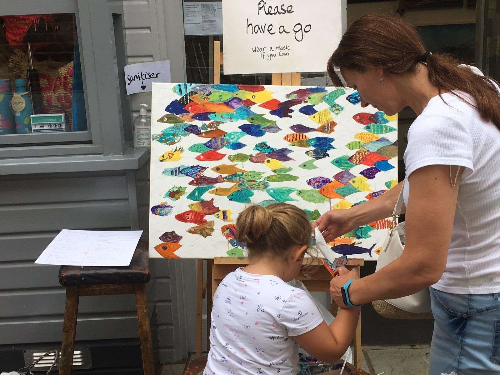 'Crazy Fish' by Little Art Gallery in Broadstairs and passers-by