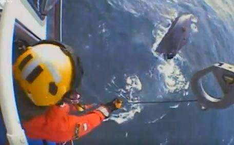 The dramatic rescue by Lydd helicopter crews in the Dover Strait. Picture: HM Coastguard