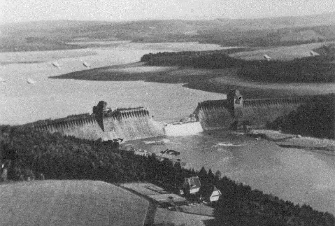 The breached Möhne Dam after the bombing