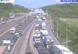 Traffic is building on the approach to the Dartford Crossing due to an earlier crash. Photo: Highways England