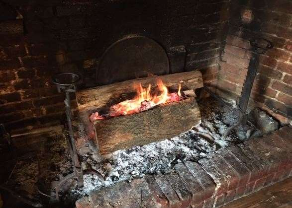 The huge inglenook fireplace featured some of the largest logs I've seen gracing a pub fire