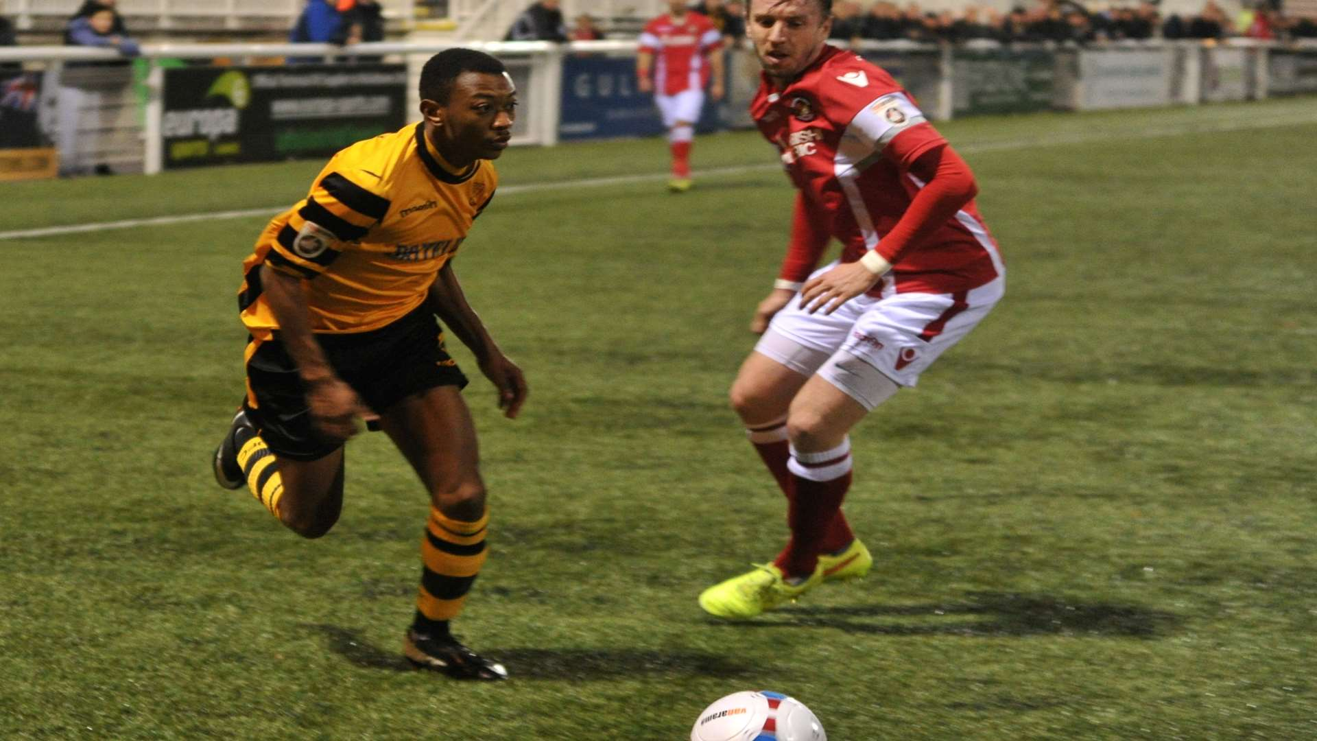 Charles Banya shows attacking intent at against Ebbsfleet in the Kent Senior Cup Picture: Steve Terrell