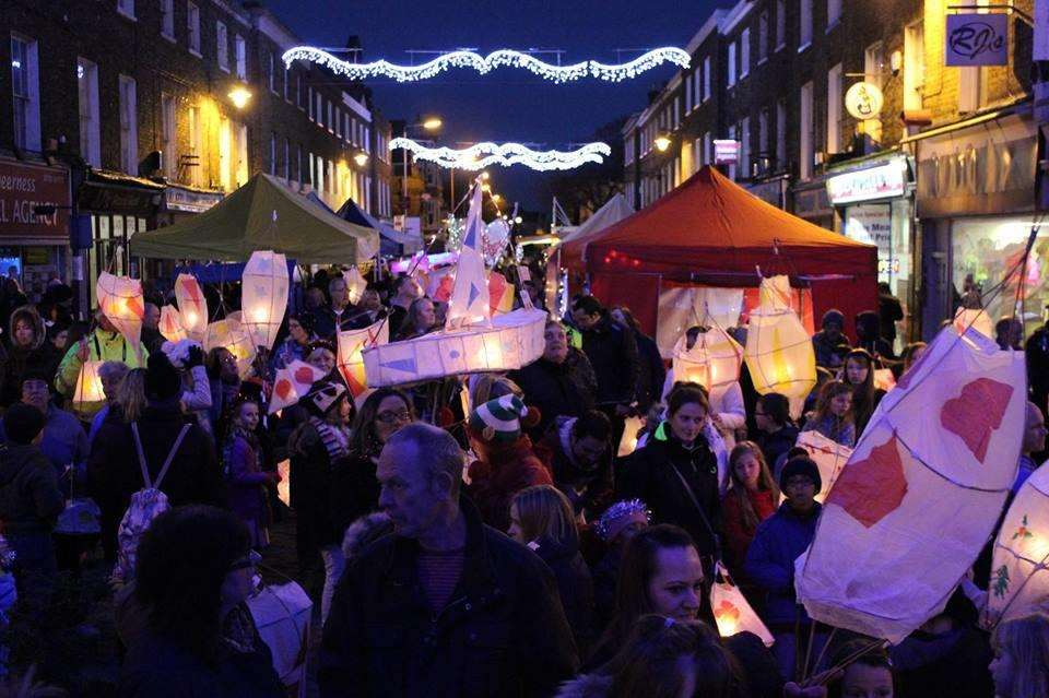 Sheerness Lantern Parade and Christmas lights near the clock tower (4663557)