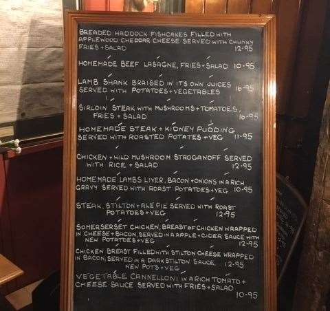 There was a good selection of meals available, with everything written up clearly on a very large blackboard
