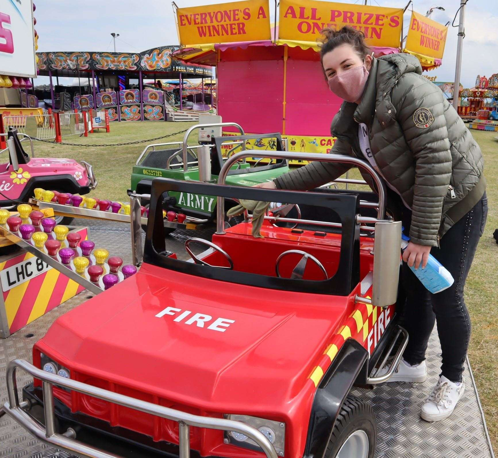 Danielle Smith cleaned down the fire truck at Smith's funfair at Barton's Point, Sheerness