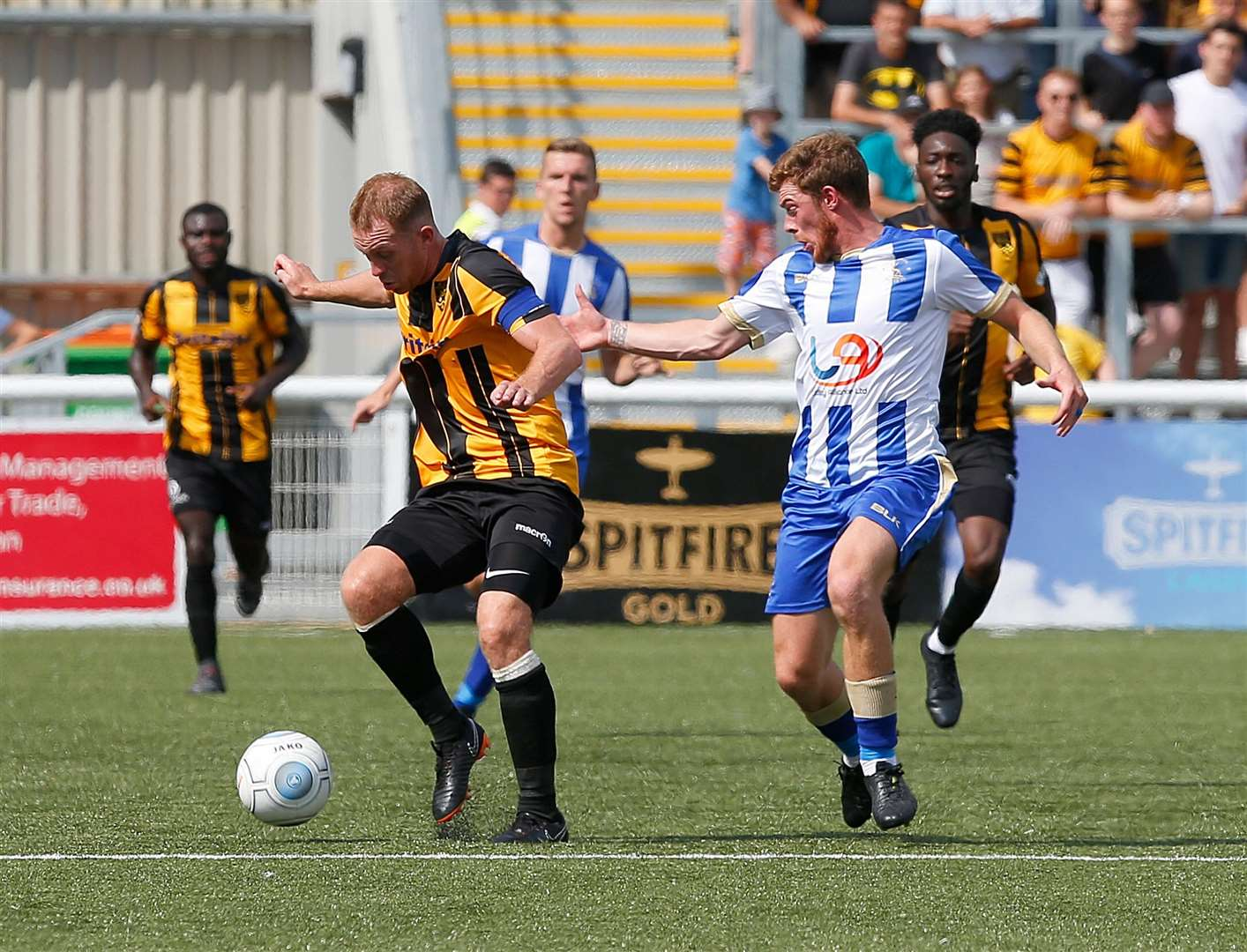 Maidstone captain Stuart Lewis in the thick of things at the Gallagher Picture: Andy Jones