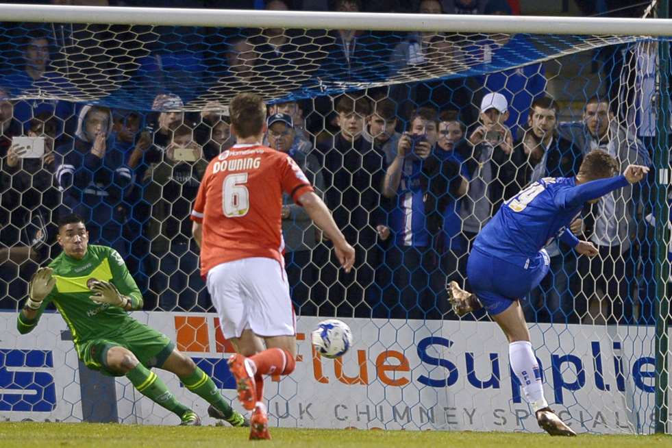 Luke Norris' penalty is saved on a bad night for Gillingham Picture: Barry Goodwin