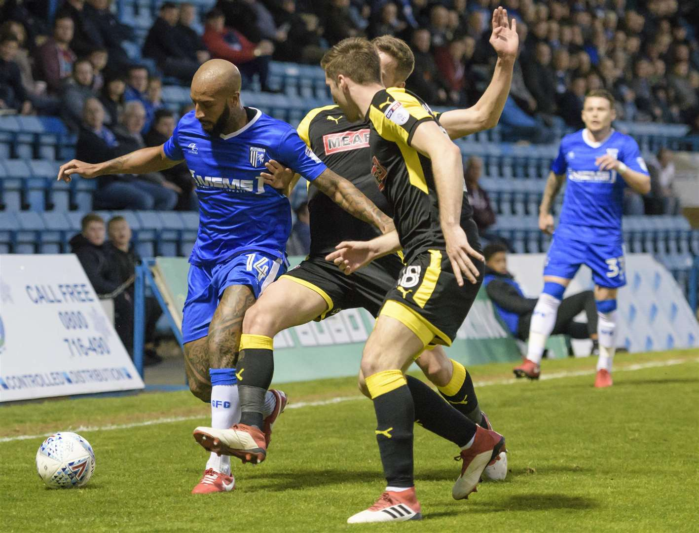 Josh Parker tries to get Gills going against Rotherham Picture: Andy Payton