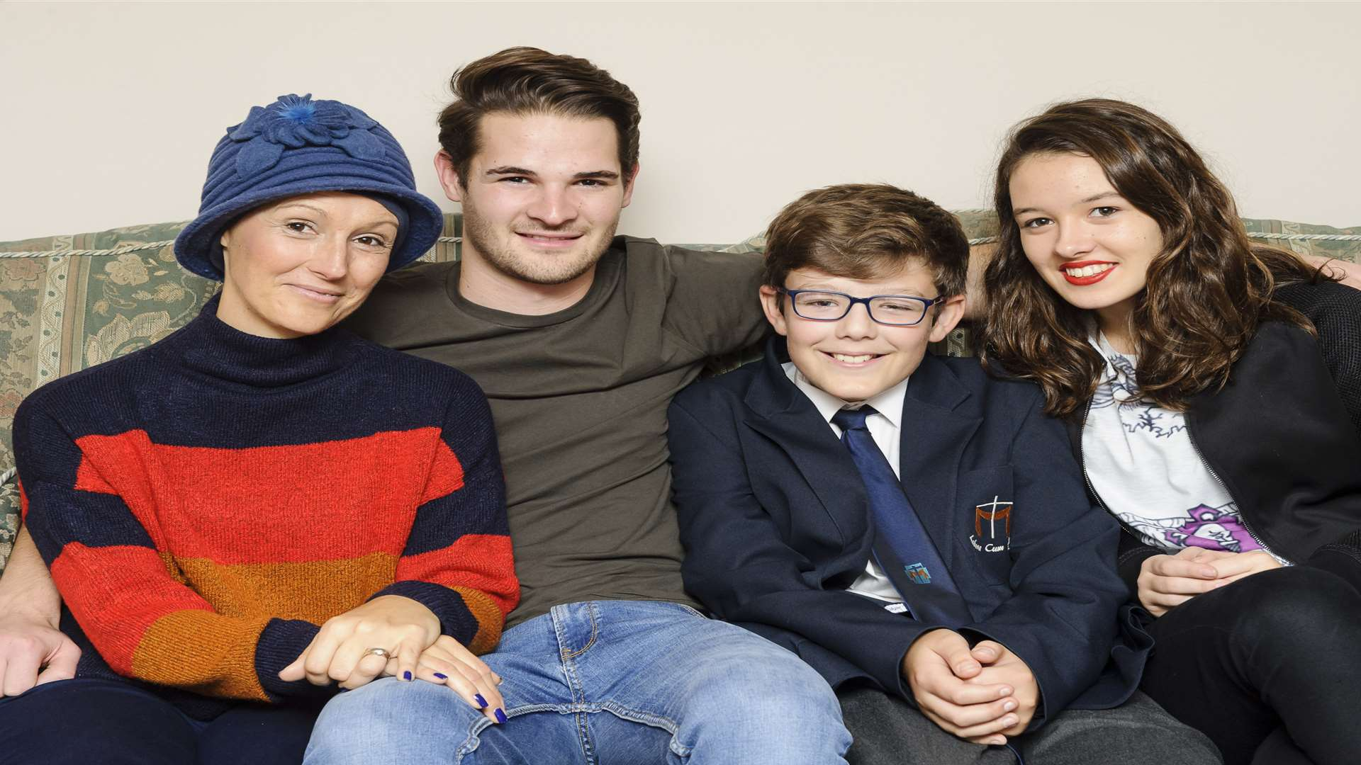 Mum Christine Colyer with three of her four children, Jon Harris and Daniel and Sarah Colyer. Picture: Andy Payton