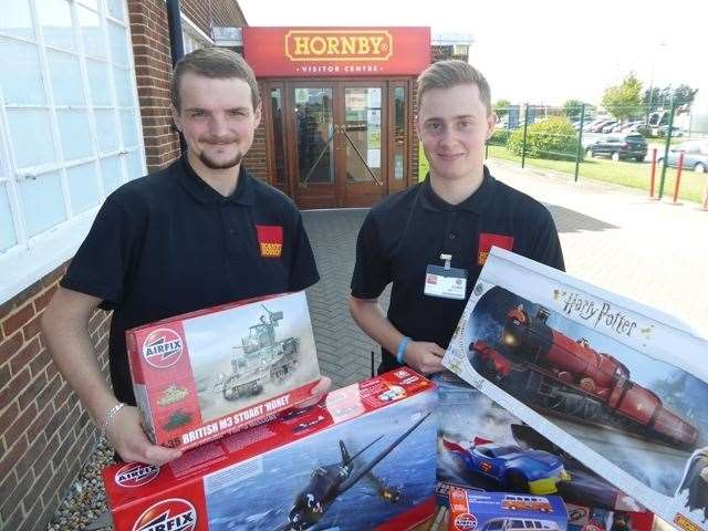 Stuart Wheeler and Ryan Jones of Hornby with the gift sets the company has donated as raffle prizes at KM Charity Team events in the year ahead (16061838)