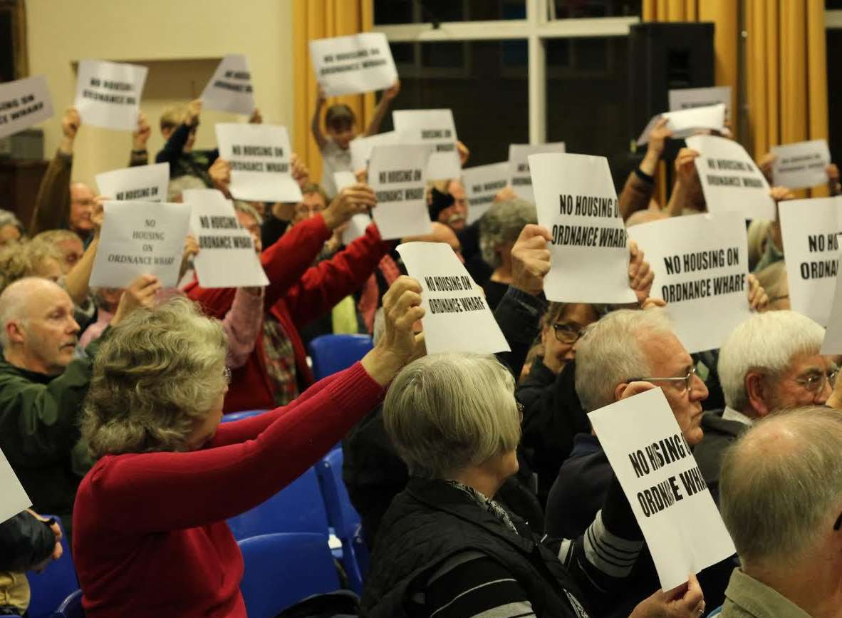 Protesters at one of many Creek meetings. Picture: Richard Fleury