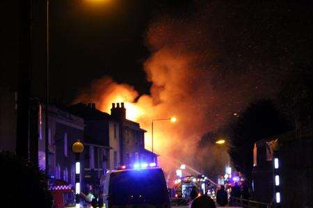 Fire crews at the scene of the Gravesend blaze