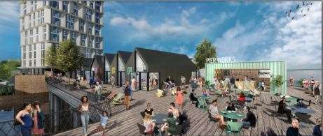 How the pier would look like in the planned Clifton Slipways development
