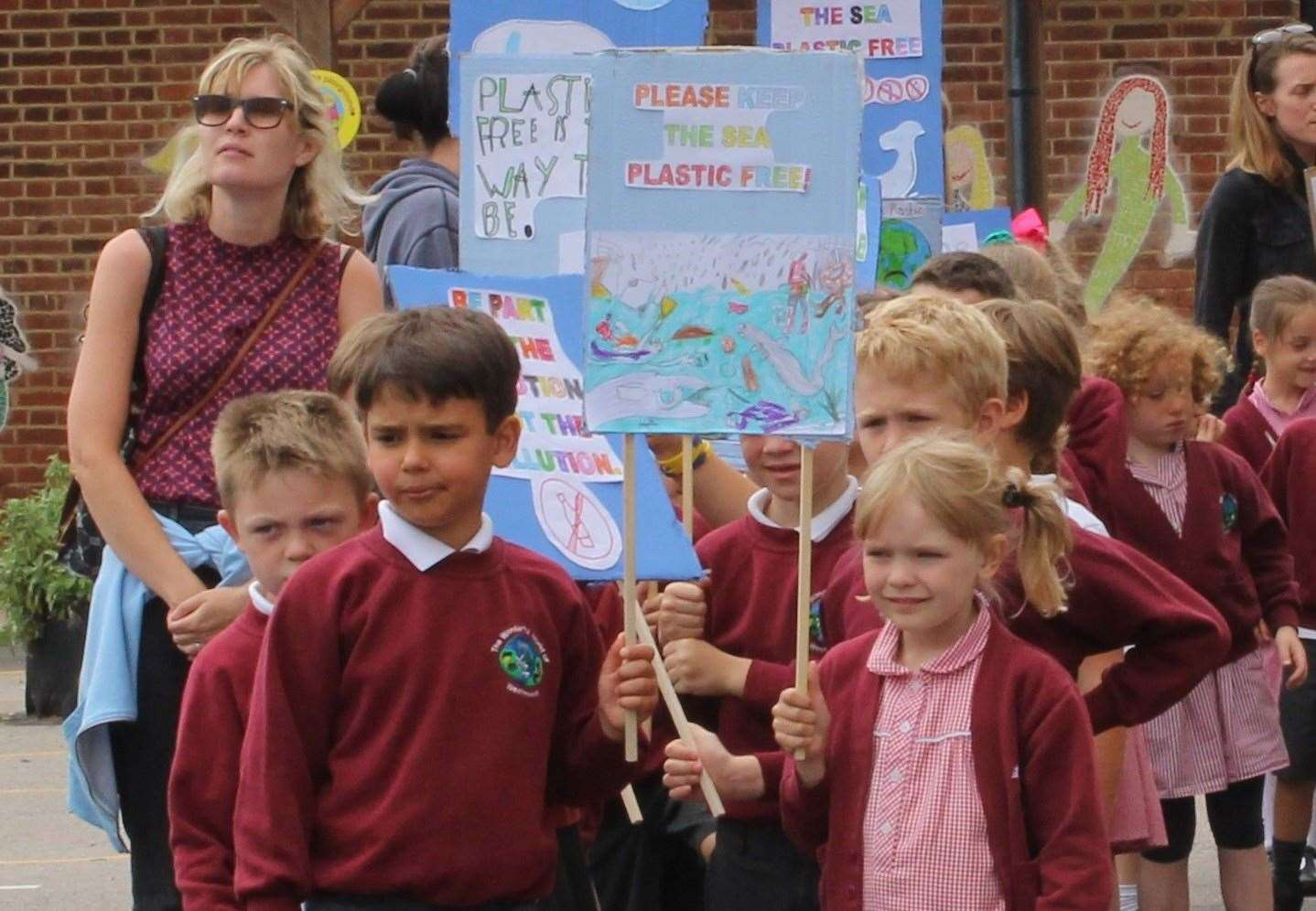 Placard-carrying pupils about to set off from Westmeads Community Infant School. Pic: Kent County Council (14024301)