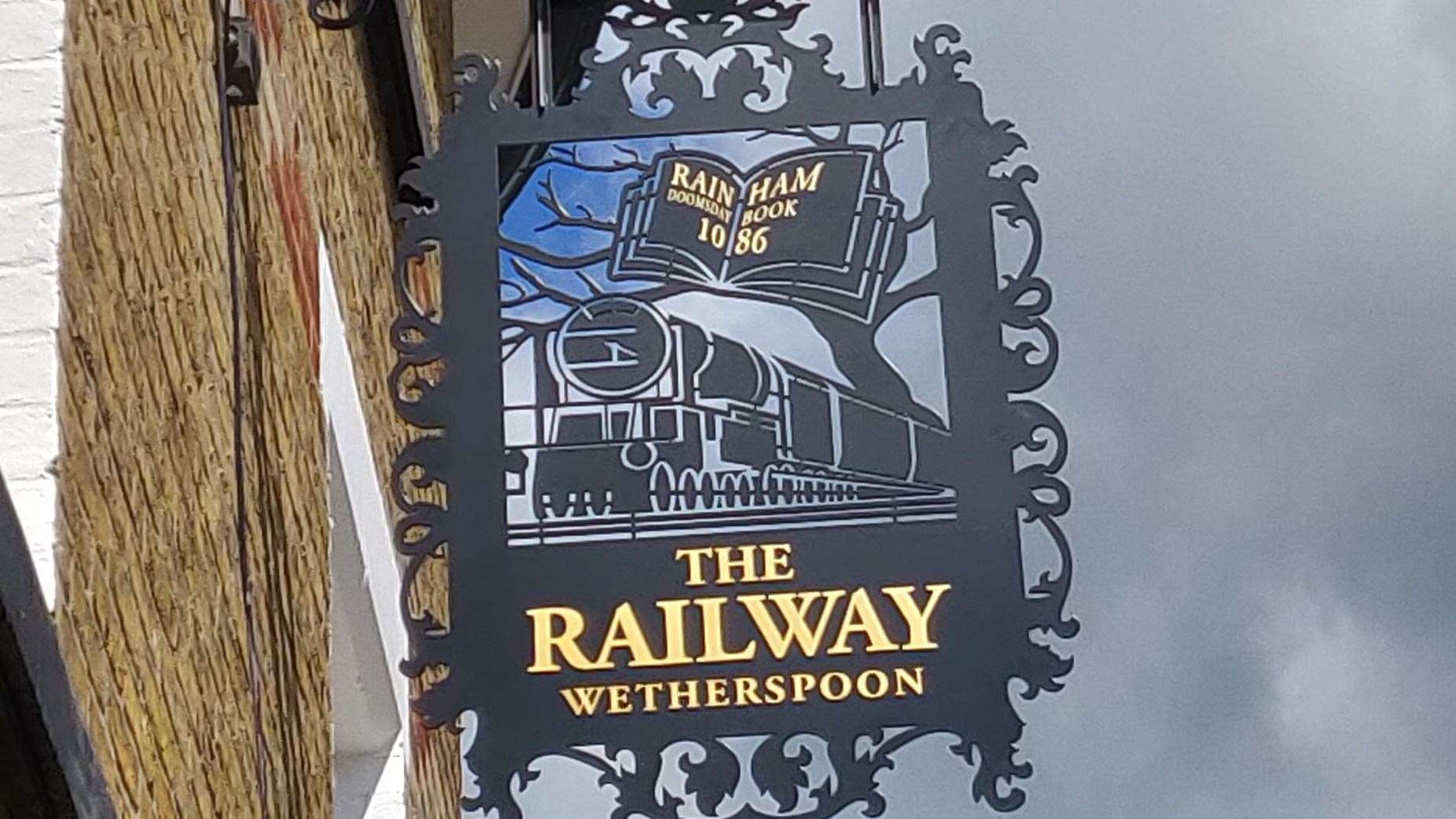 There are a couple of errors in the sign for the new Railway Pub in Rainham