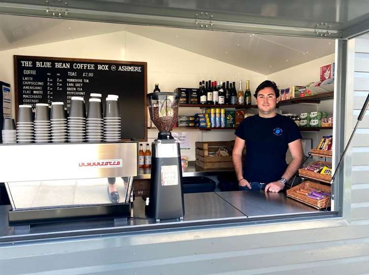 Sam Bott at the Blue Bean Coffee Co pod in Ashmere