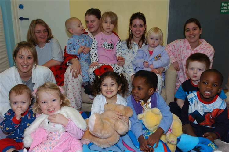 Nursery children and staff wearing their nightwear in aid of the Tsunami appeal In 2005