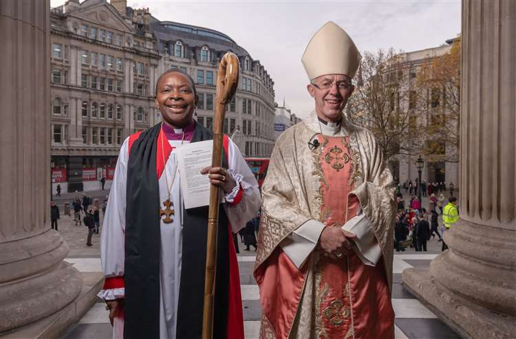 Rose Hudson-Wilkin with the Archbishop of Canterbury. Picture: Graham Lacdao