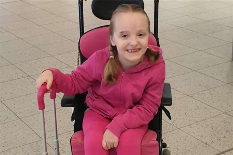 Hannah Taylor, 8, has cerebral palsy and he hydrotherapy pool was stolen from her home in Dartford over night. (15963530)