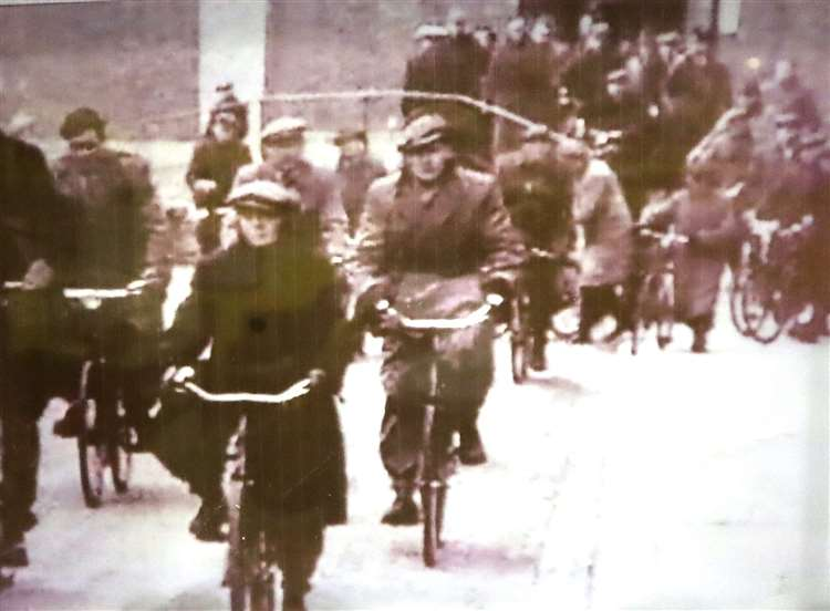 The daily cycle chaos of dockers at Sheerness Naval Dockyard before it closed. Picture: Blue Town Heritage Centre